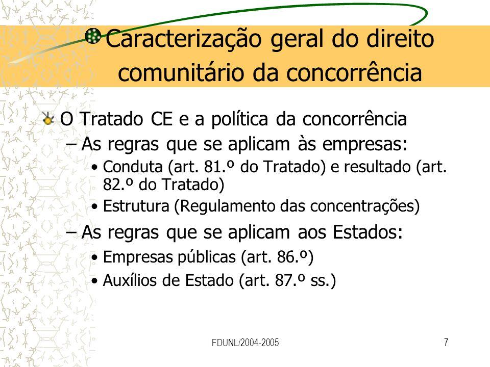 Caracterização geral do direito comunitário da concorrência