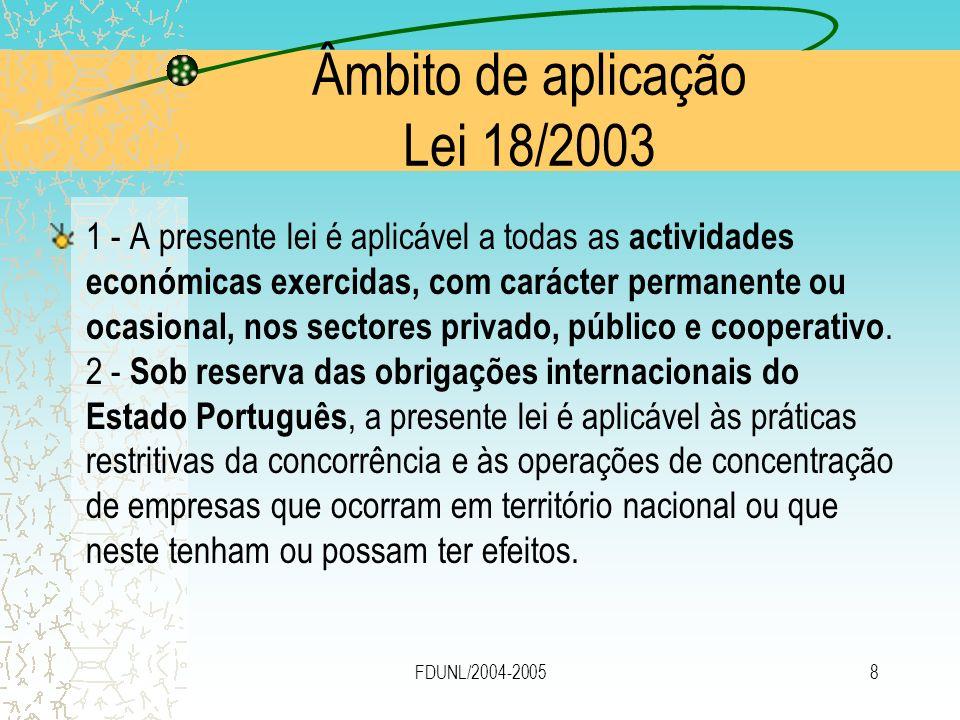 Âmbito de aplicação Lei 18/2003