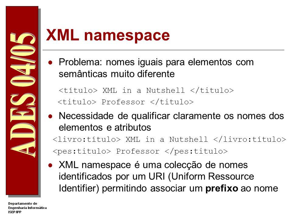 XML namespace <título> XML in a Nutshell </titulo>