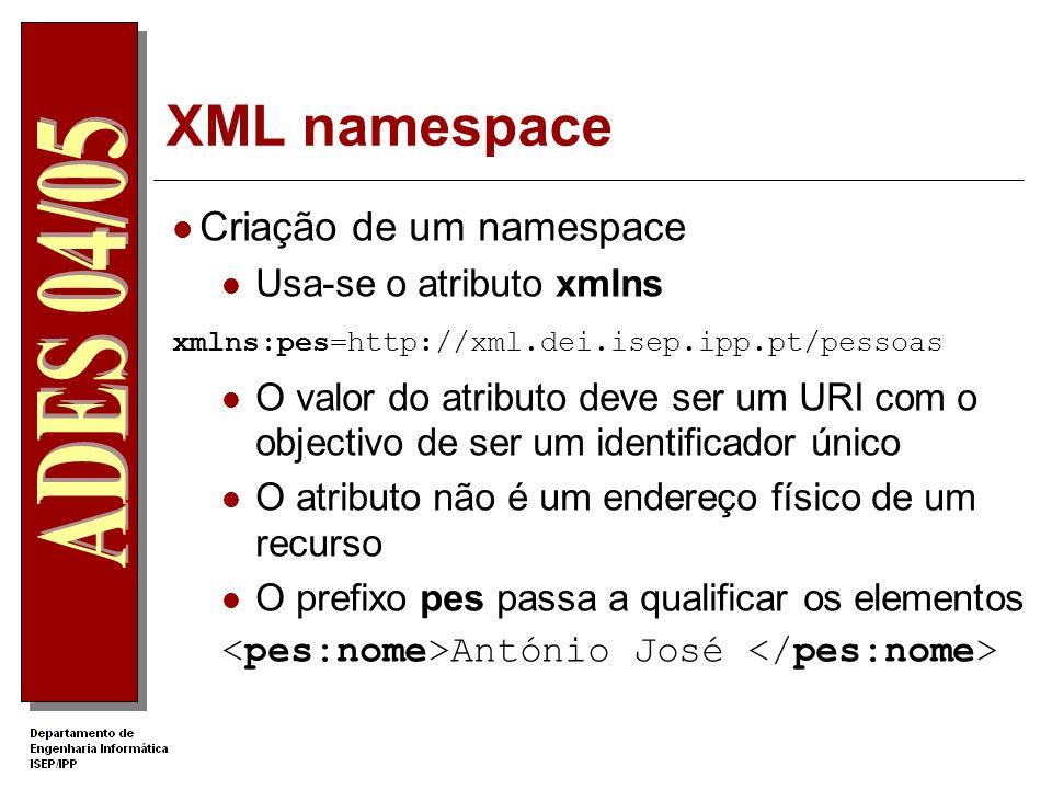 XML namespace Criação de um namespace Usa-se o atributo xmlns