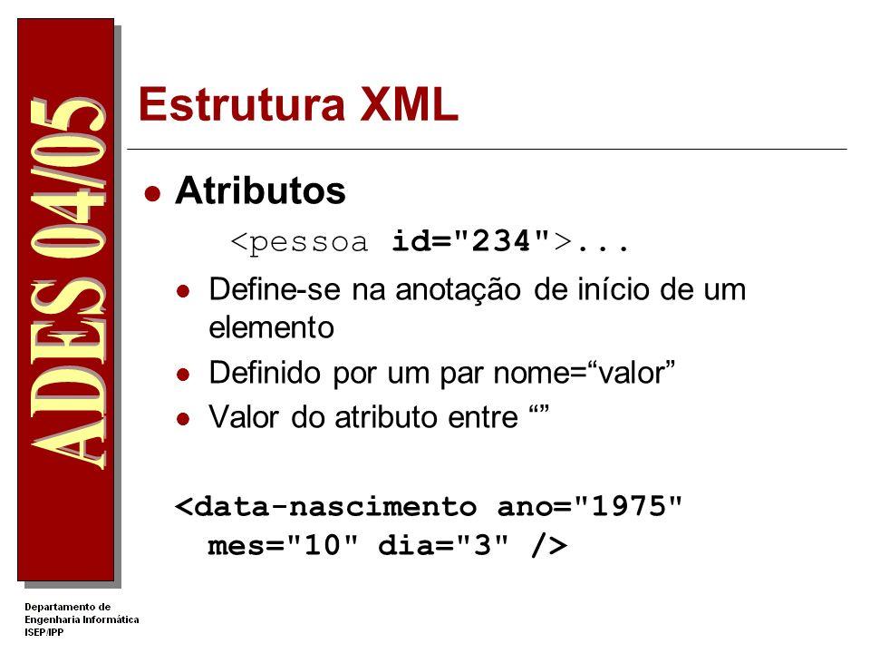 Estrutura XML Atributos <pessoa id= 234 >...