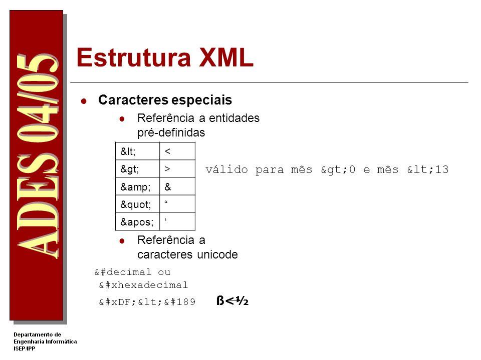 Estrutura XML Caracteres especiais