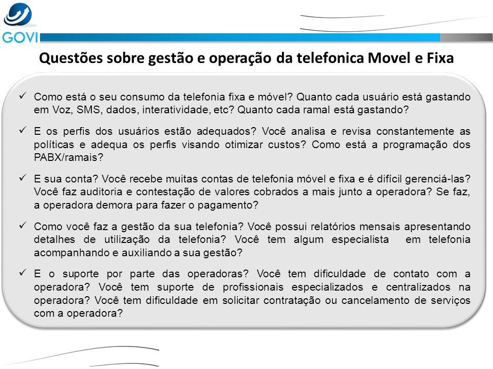 Questões sobre gestão e operação da telefonica Movel e Fixa