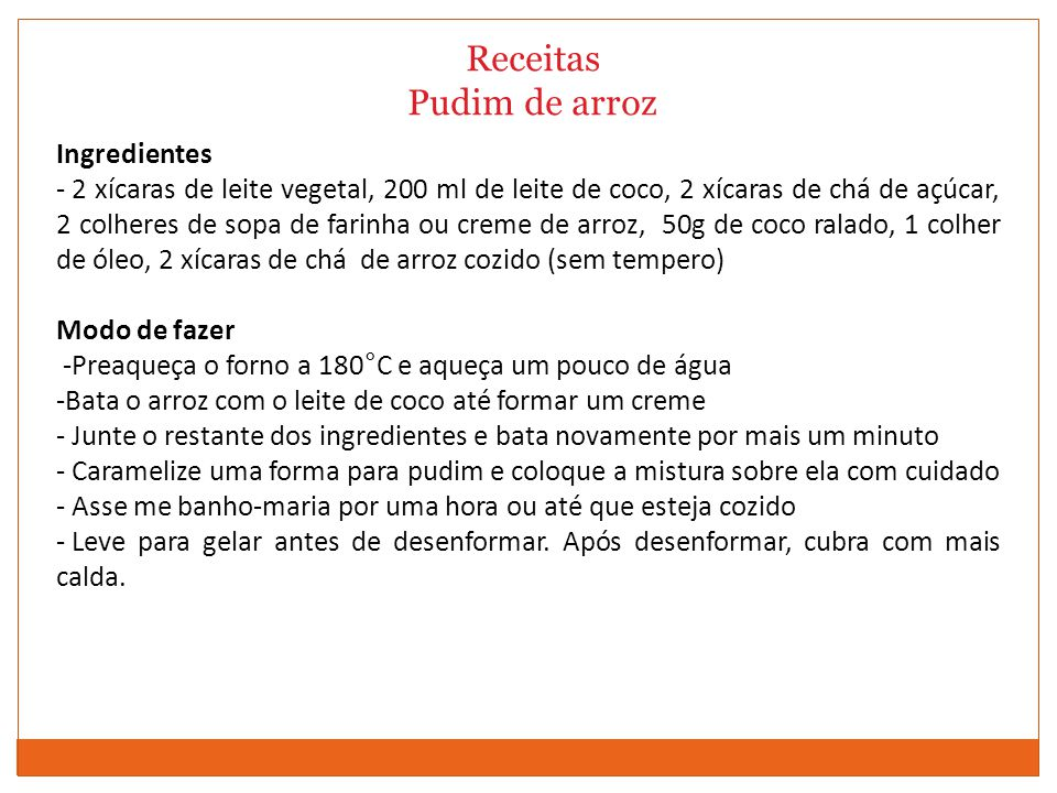 Receitas Pudim de arroz Ingredientes