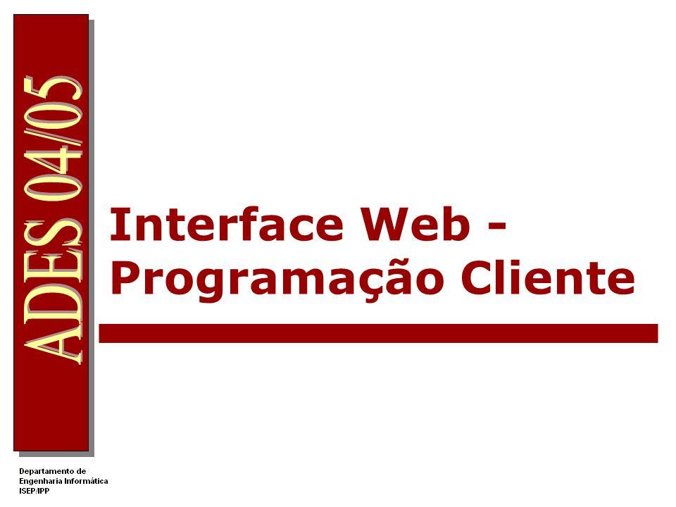 Interface Web - Programação Cliente