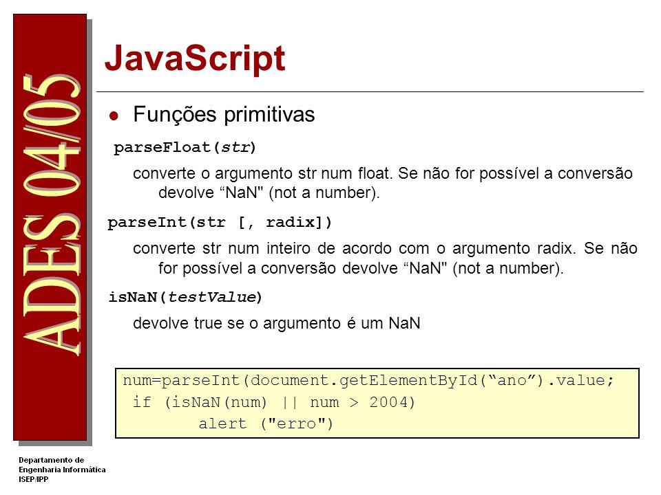 JavaScript Funções primitivas parseFloat(str)