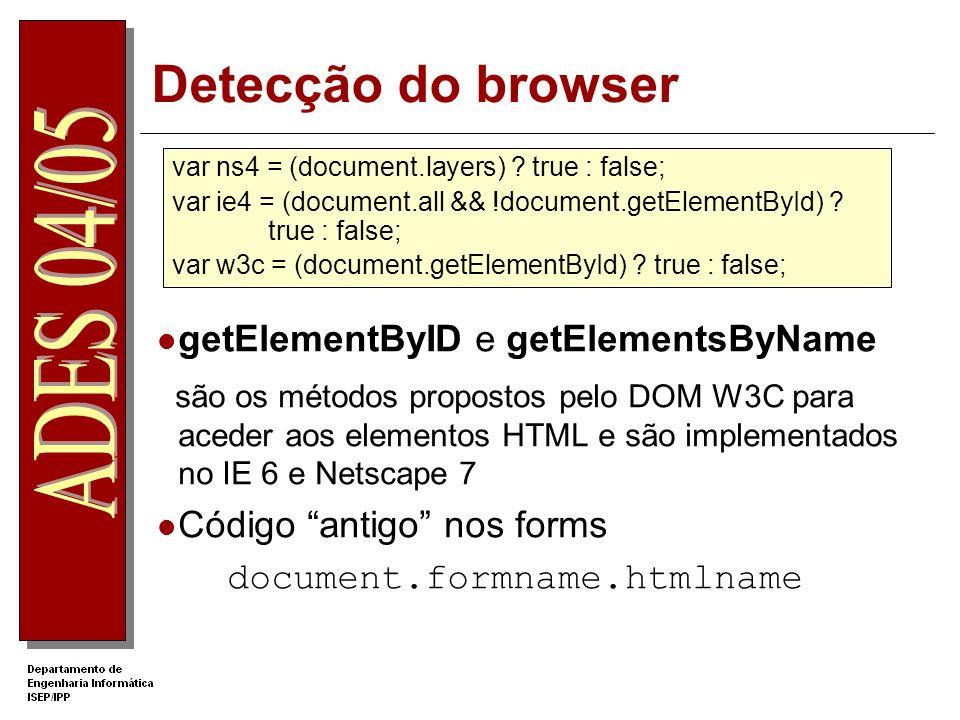 Detecção do browser getElementByID e getElementsByName