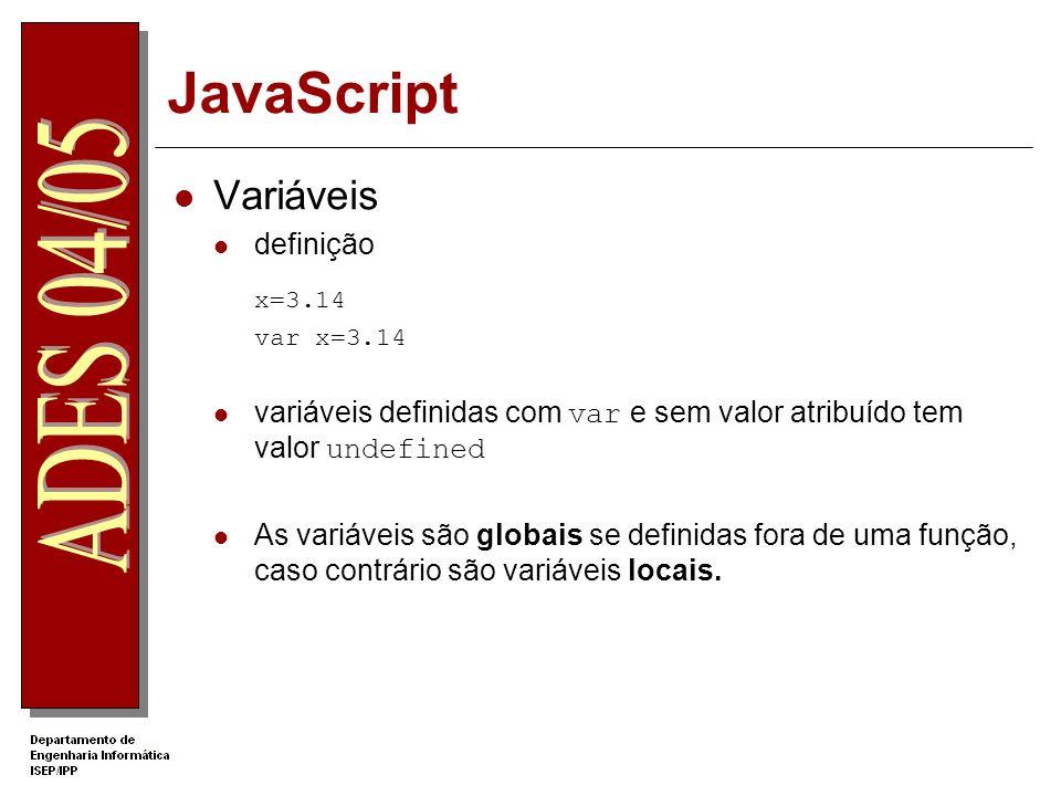 JavaScript Variáveis x=3.14 definição