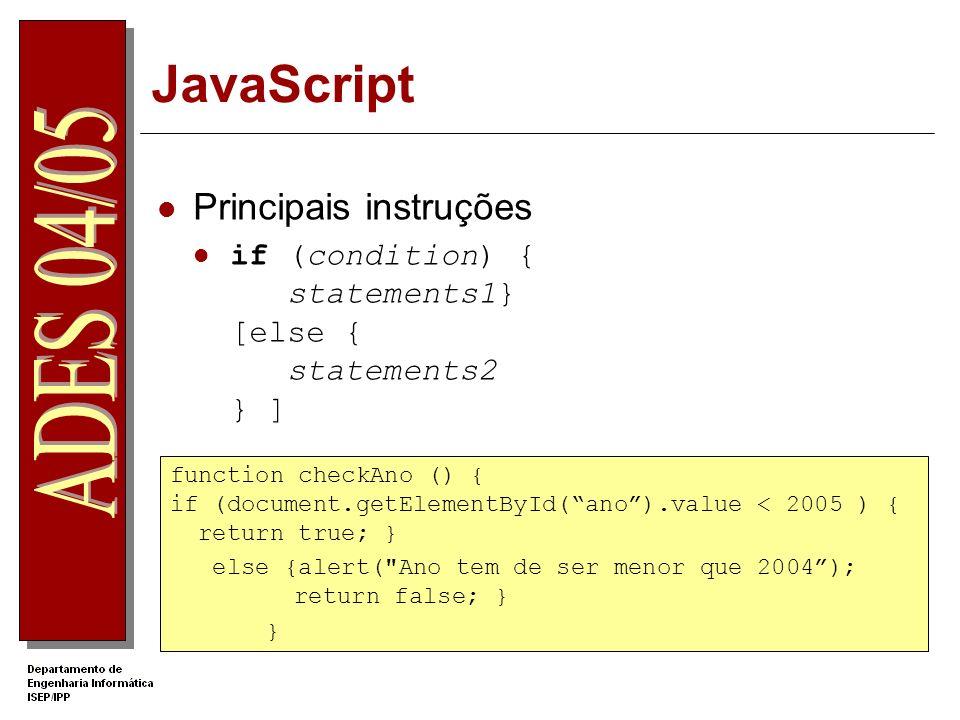 JavaScript Principais instruções