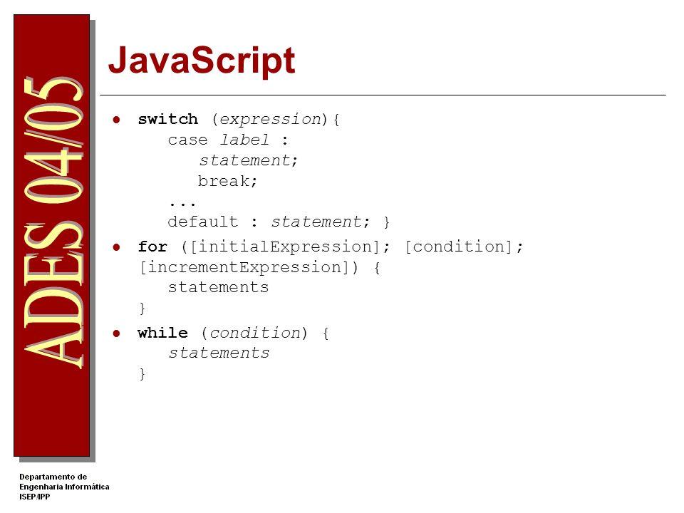 JavaScriptswitch (expression){ case label : statement; break; ... default : statement; }
