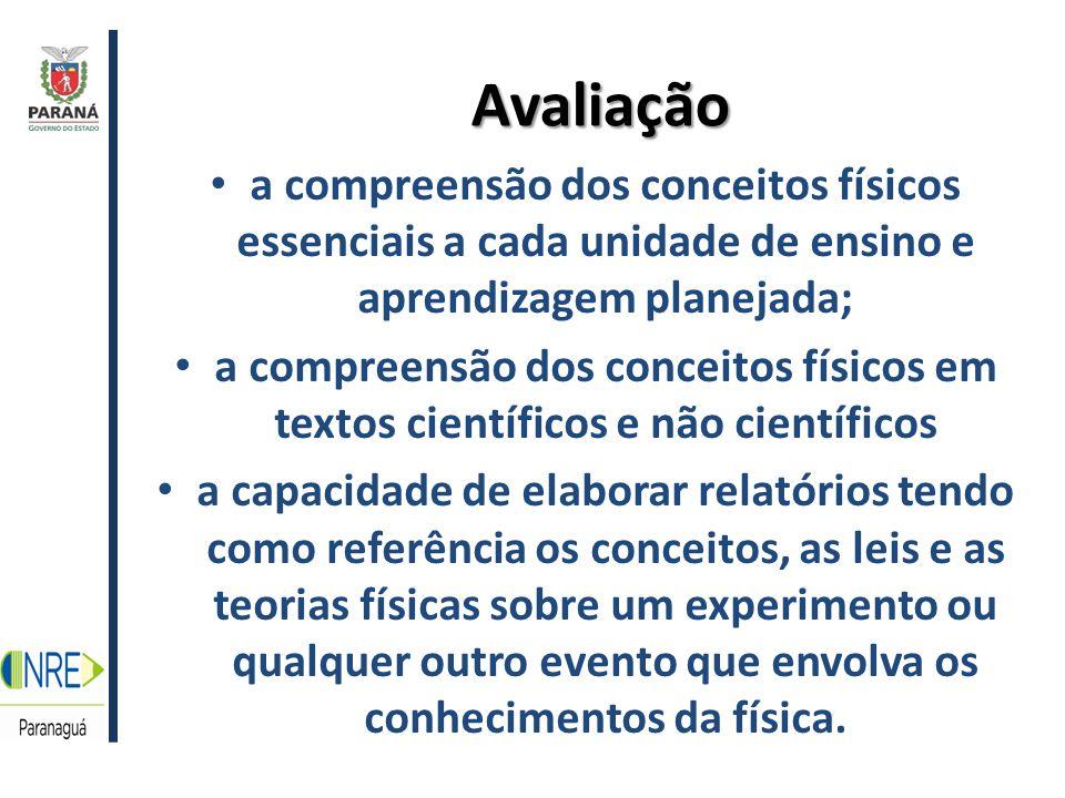 Avaliação a compreensão dos conceitos físicos essenciais a cada unidade de ensino e aprendizagem planejada;