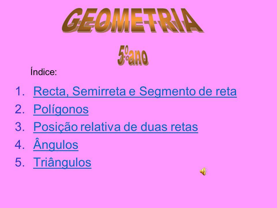 GEOMETRIA 5ºano Recta, Semirreta e Segmento de reta Polígonos
