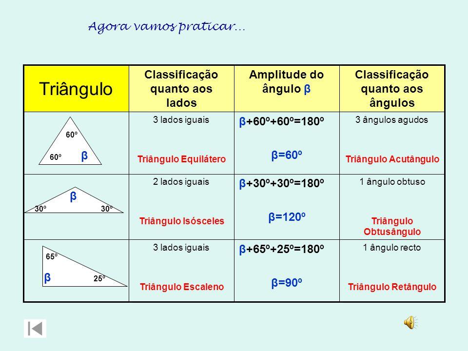 Triângulo Agora vamos praticar… Classificação quanto aos lados