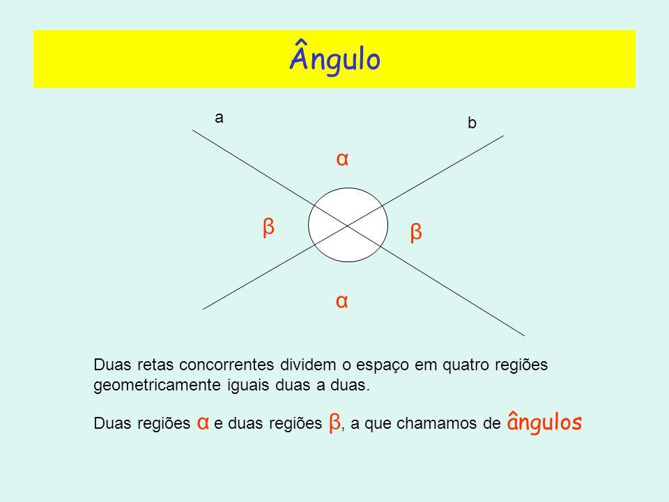 Ângulo a. b. α. β. β. α. Duas retas concorrentes dividem o espaço em quatro regiões geometricamente iguais duas a duas.