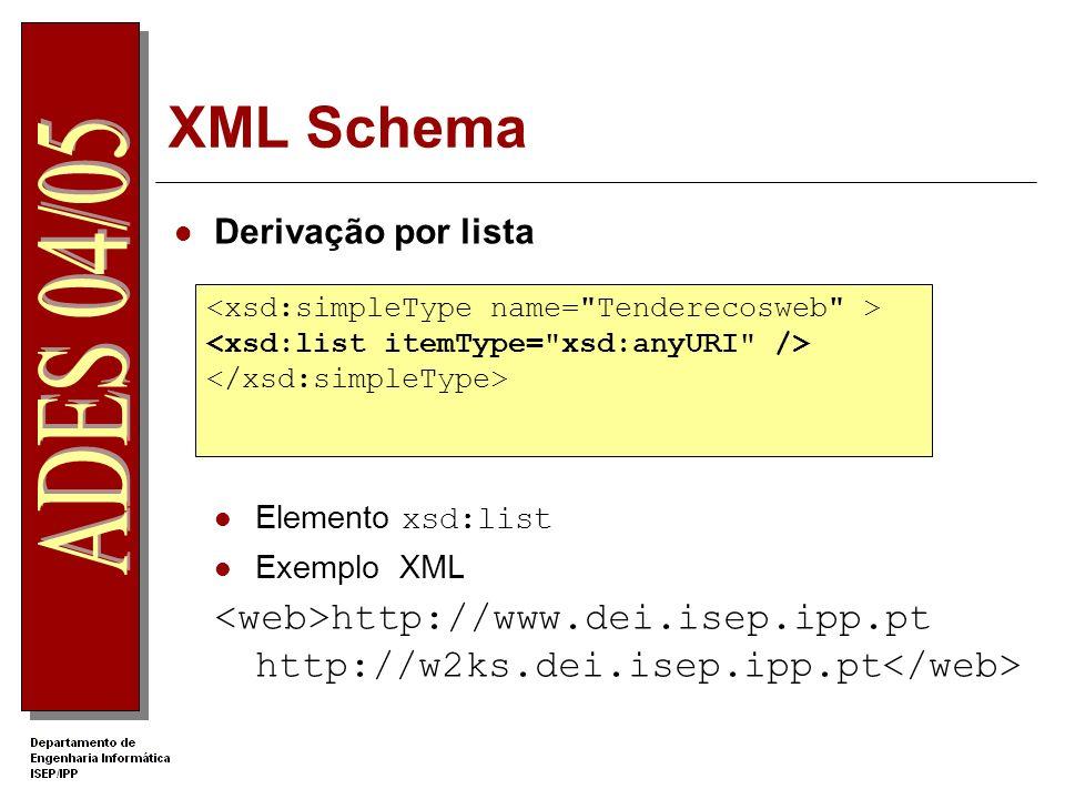 XML Schema Derivação por lista. Elemento xsd:list. Exemplo XML. <web>http://www.dei.isep.ipp.pt http://w2ks.dei.isep.ipp.pt</web>
