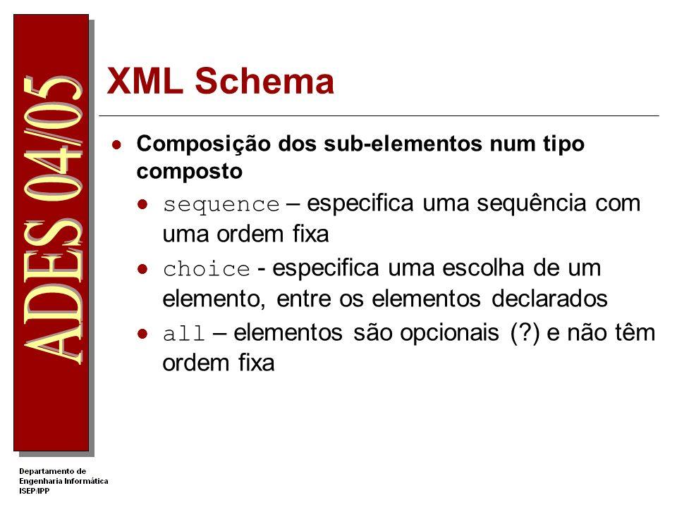 XML Schema sequence – especifica uma sequência com uma ordem fixa