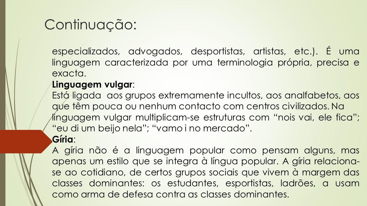 Continuação: especializados, advogados, desportistas, artistas, etc.). É uma linguagem caracterizada por uma terminologia própria, precisa e exacta.