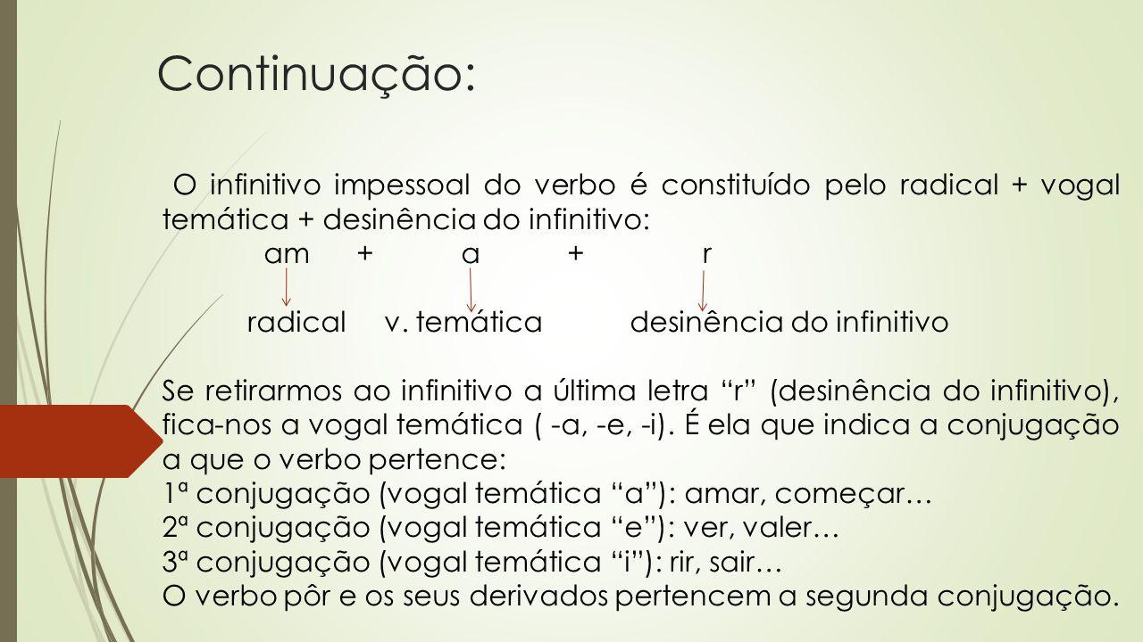 Continuação: am + a + r radical v. temática desinência do infinitivo