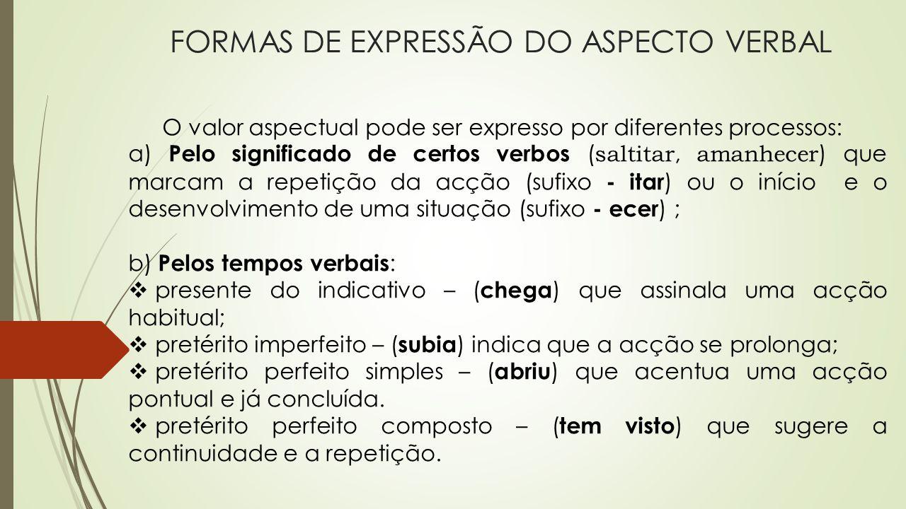 FORMAS DE EXPRESSÃO DO ASPECTO VERBAL