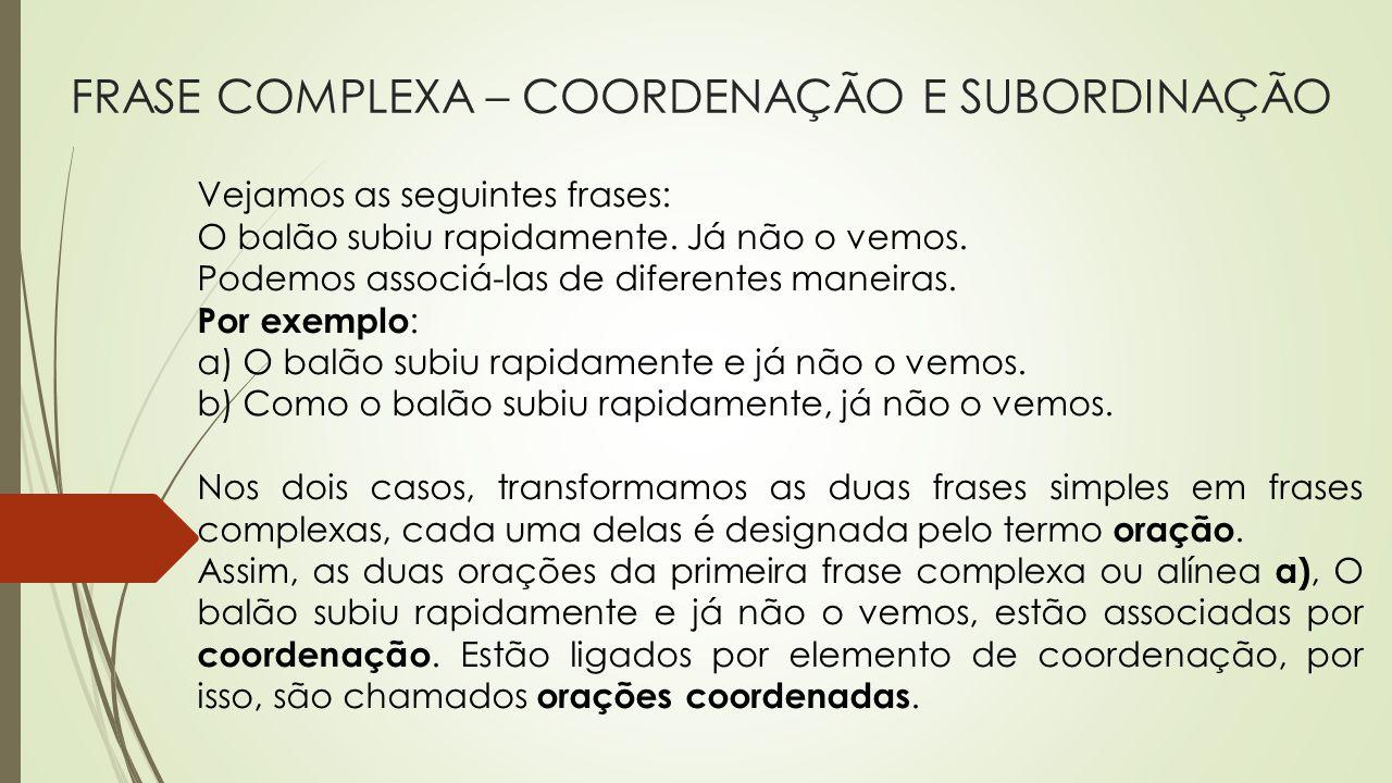 FRASE COMPLEXA – COORDENAÇÃO E SUBORDINAÇÃO