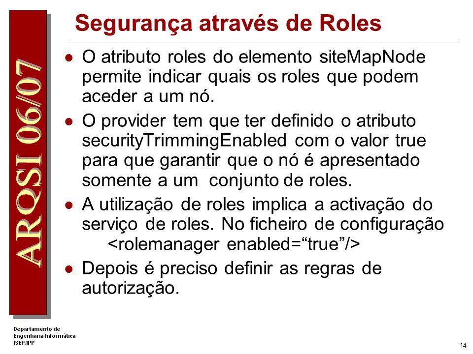 Segurança através de Roles