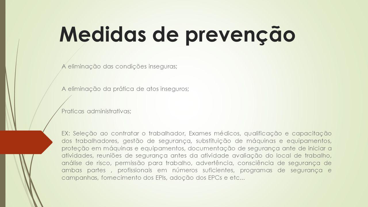 Medidas de prevenção A eliminação das condições inseguras;