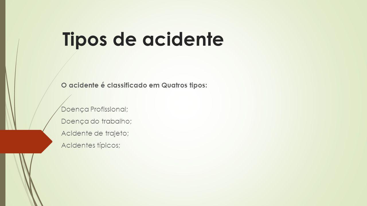 Tipos de acidente O acidente é classificado em Quatros tipos: