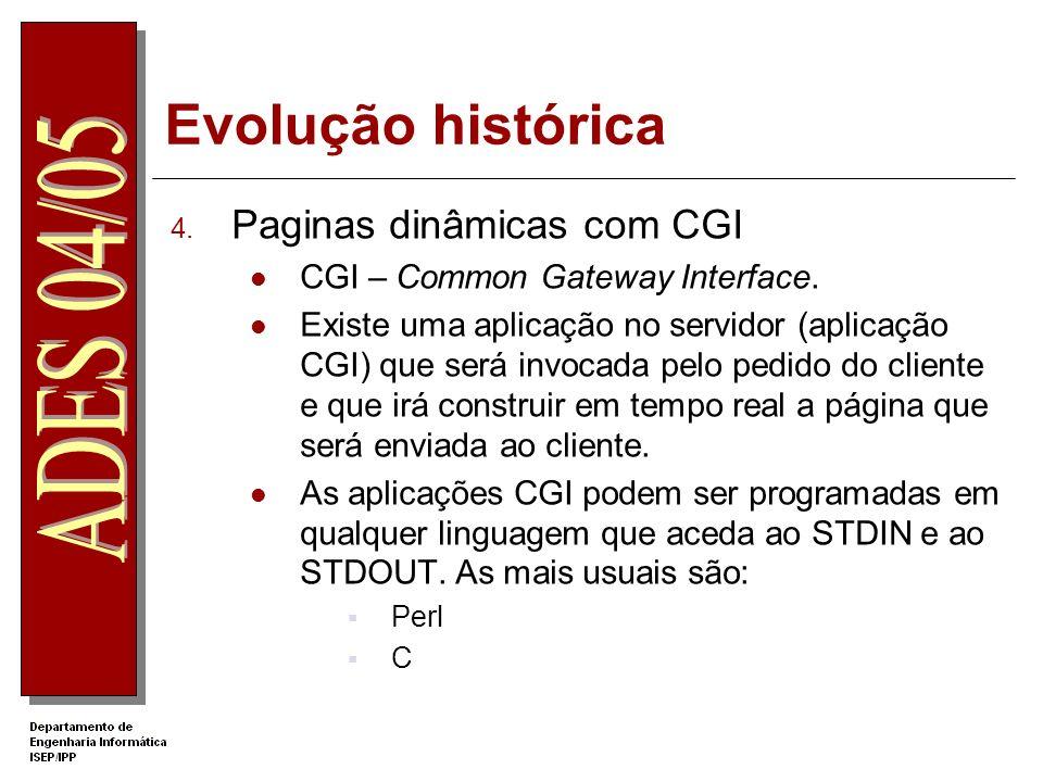 Evolução histórica Paginas dinâmicas com CGI