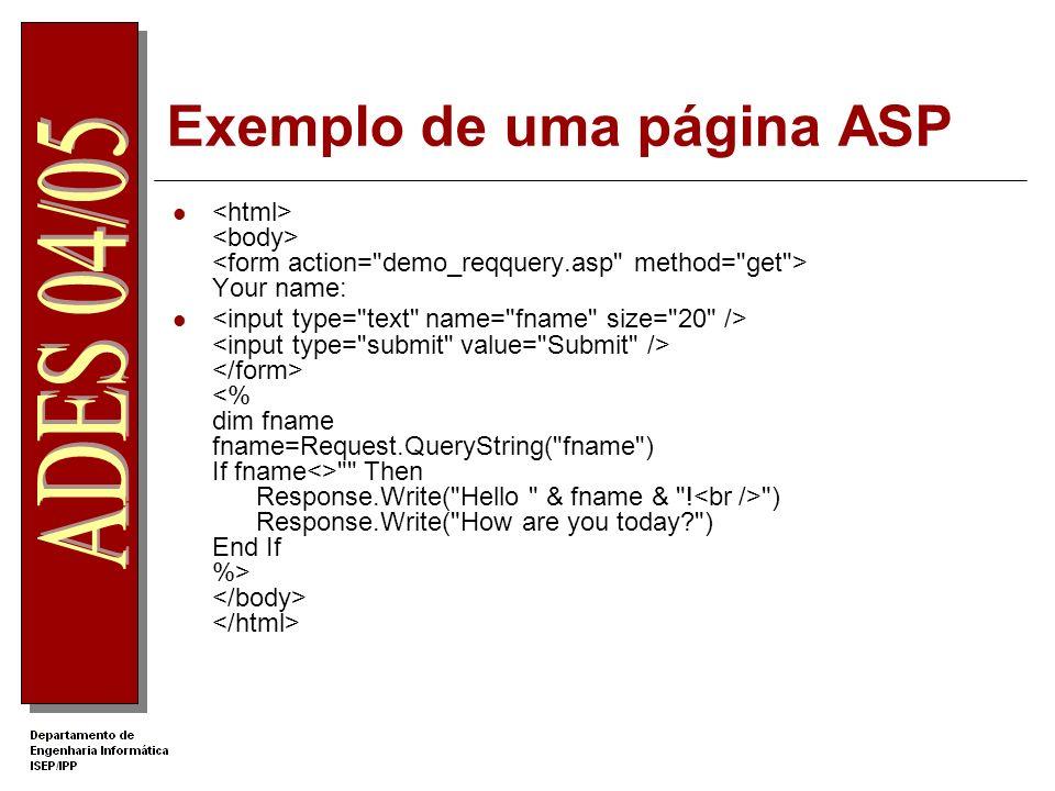 Exemplo de uma página ASP