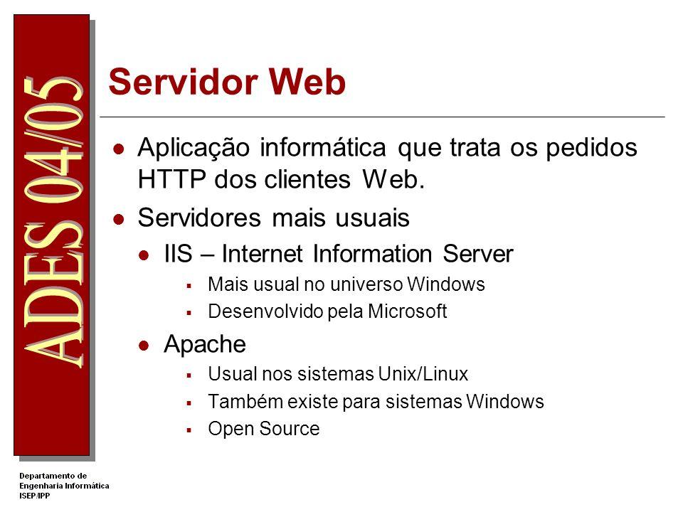 Servidor Web Aplicação informática que trata os pedidos HTTP dos clientes Web. Servidores mais usuais.