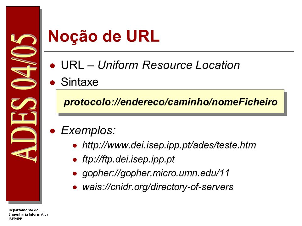 Noção de URL URL – Uniform Resource Location Sintaxe Exemplos: