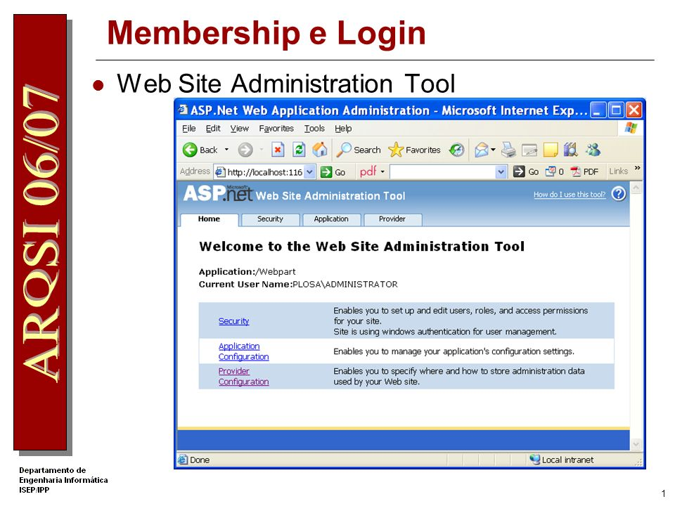 Membership e Login Web Site Administration Tool