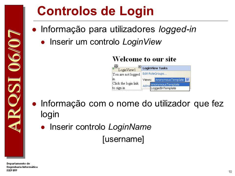 Controlos de Login Informação para utilizadores logged-in