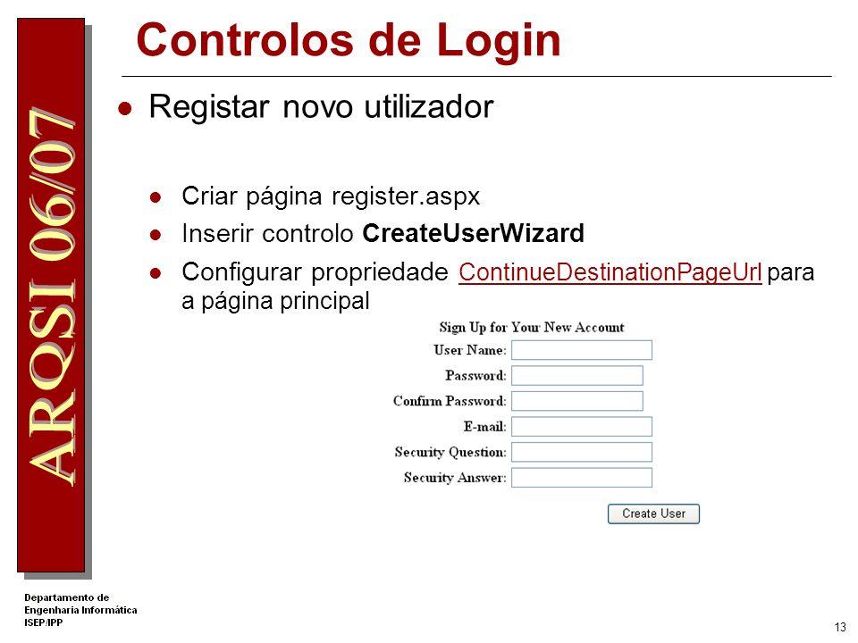 Controlos de Login Registar novo utilizador Criar página register.aspx