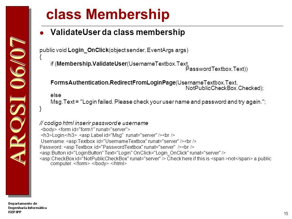 class Membership ValidateUser da class membership
