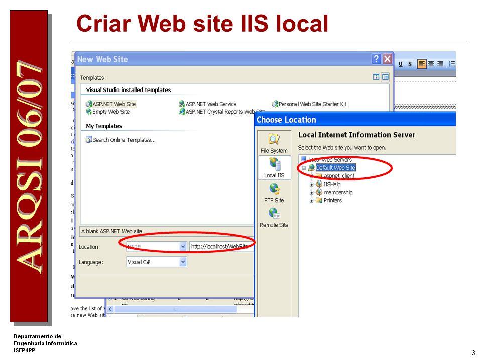 Criar Web site IIS local