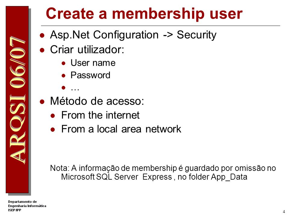 Create a membership user