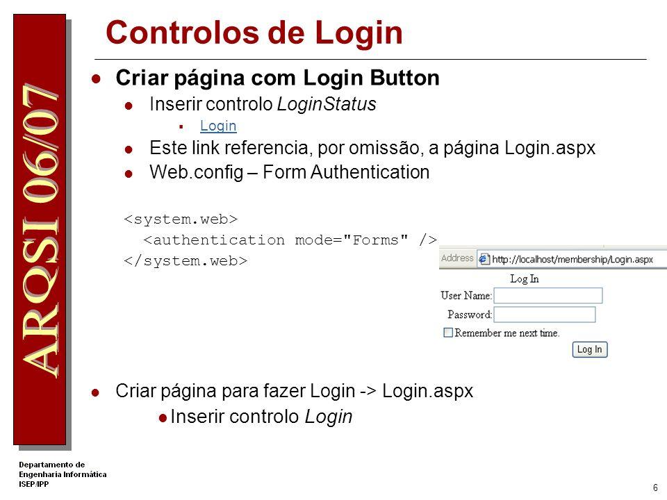 Controlos de Login Criar página com Login Button