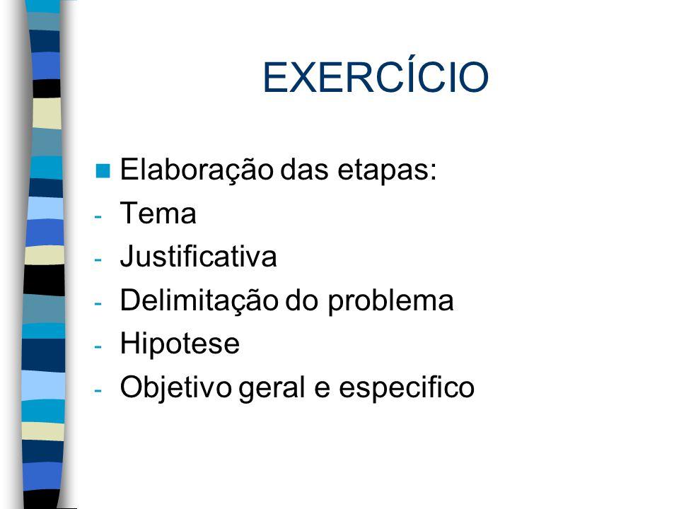 EXERCÍCIO Elaboração das etapas: Tema Justificativa
