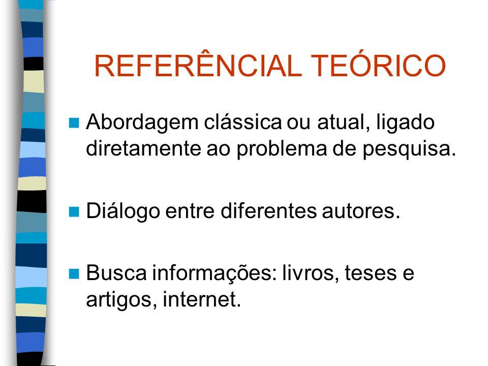 REFERÊNCIAL TEÓRICO Abordagem clássica ou atual, ligado diretamente ao problema de pesquisa. Diálogo entre diferentes autores.