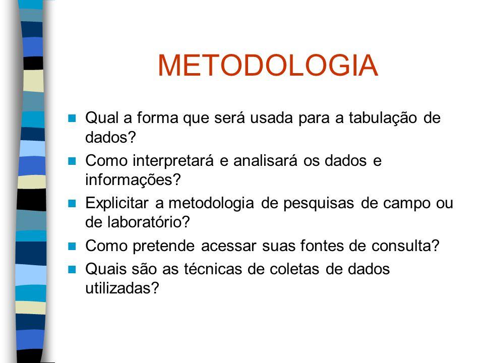 METODOLOGIA Qual a forma que será usada para a tabulação de dados