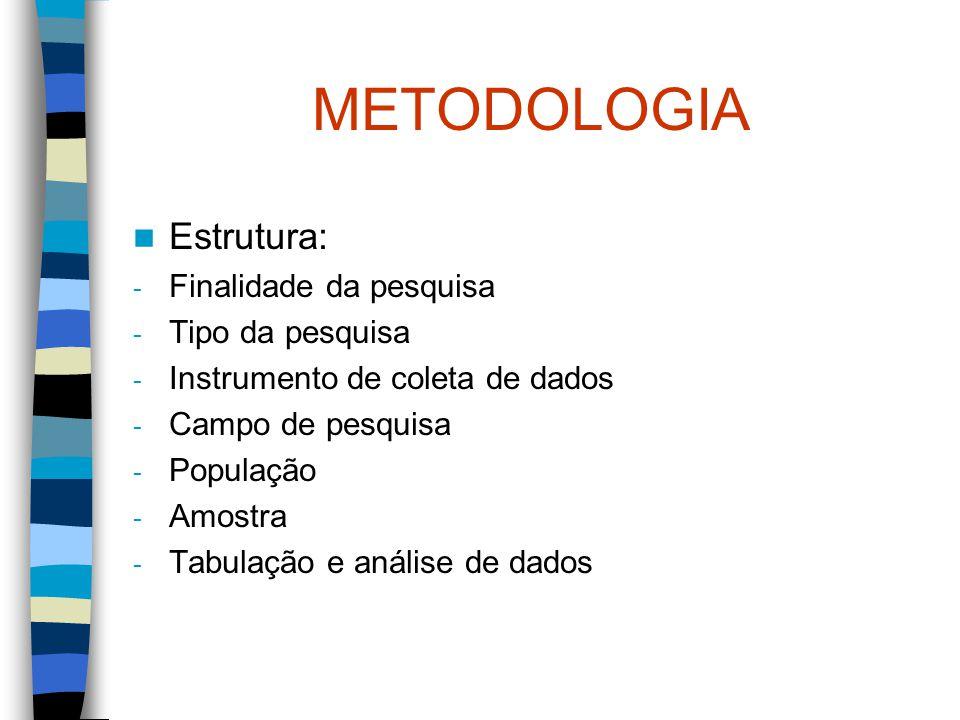 METODOLOGIA Estrutura: Finalidade da pesquisa Tipo da pesquisa