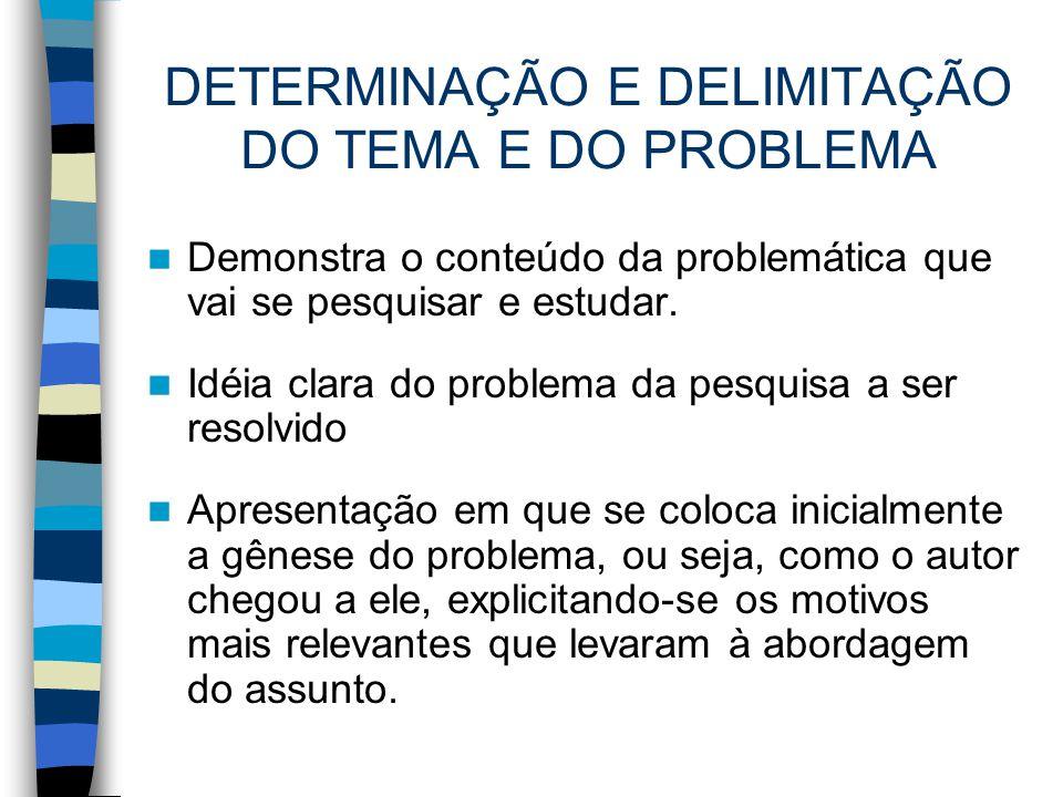 DETERMINAÇÃO E DELIMITAÇÃO DO TEMA E DO PROBLEMA