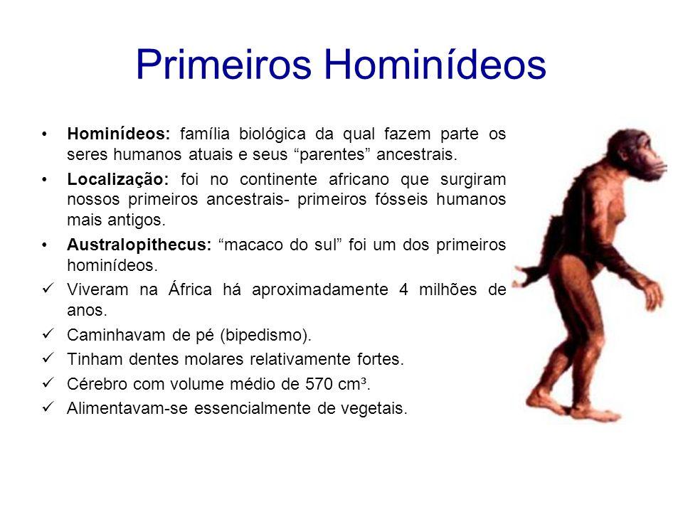 Primeiros Hominídeos Hominídeos: família biológica da qual fazem parte os seres humanos atuais e seus parentes ancestrais.