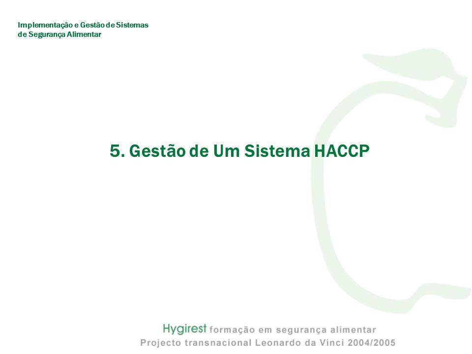 5. Gestão de Um Sistema HACCP