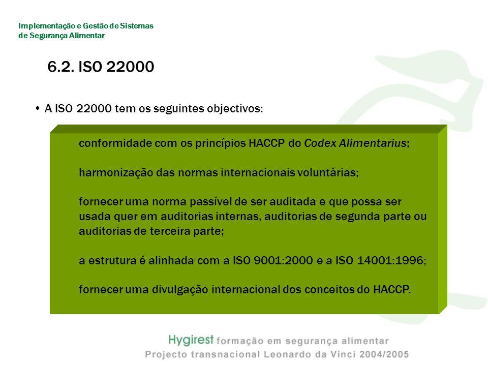 6.2. ISO 22000 A ISO 22000 tem os seguintes objectivos: