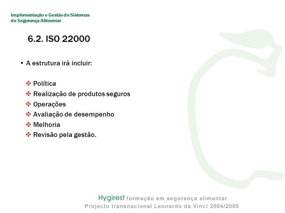 6.2. ISO 22000 A estrutura irá incluir: Política