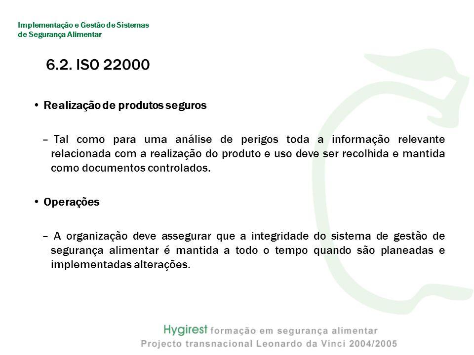 6.2. ISO 22000 Realização de produtos seguros