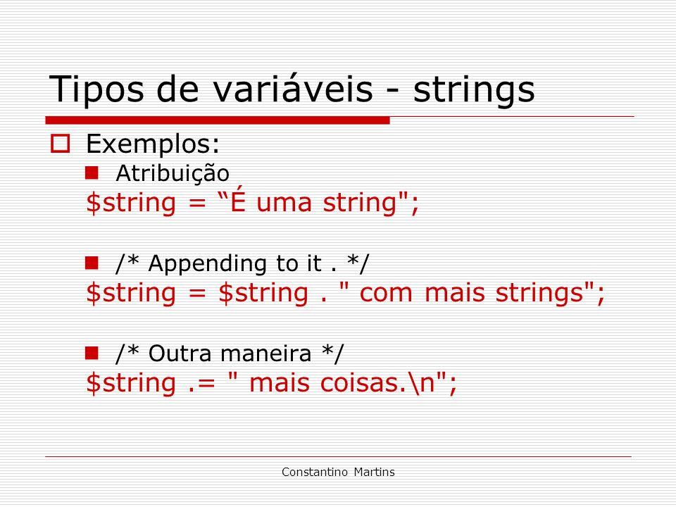 Tipos de variáveis - strings