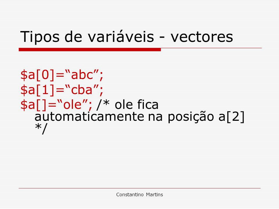 Tipos de variáveis - vectores